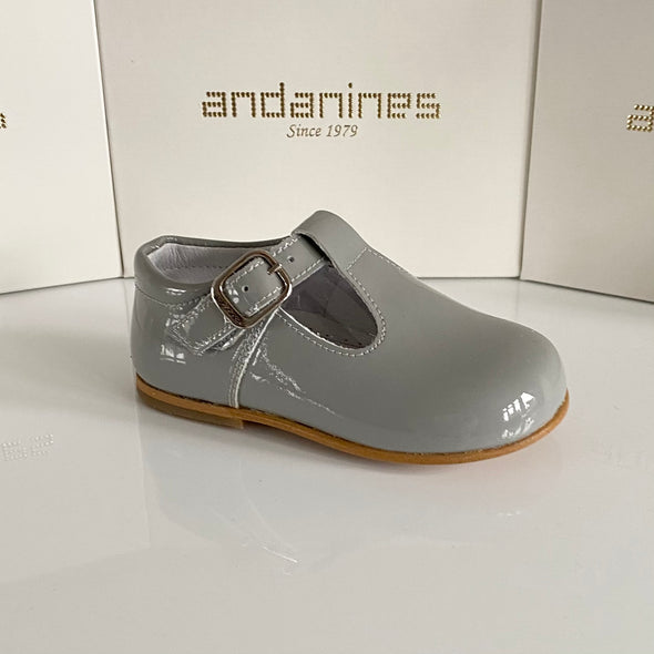 Andanines Ice Grey Patent T-Bar Shoes 162805G