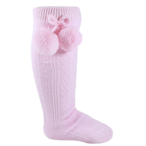 Pink Pom Pom Knee High Socks