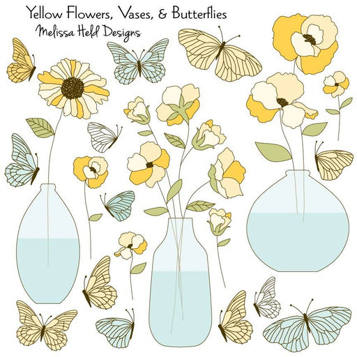 Yellow Flowers, Vases and Butterflies Cliparts Melissa Held Designs    Mygrafico