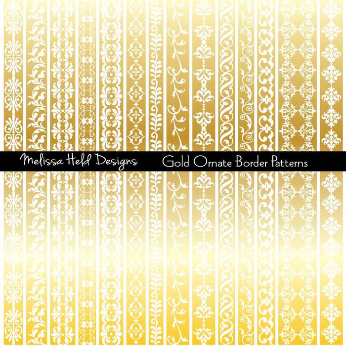 Gold Ornate Border Patterns Clipart & Digital Paper Melissa Held Designs    Mygrafico