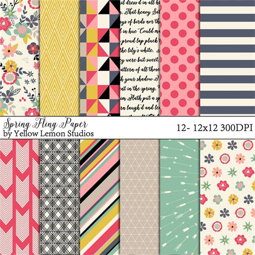 Spring Dance Fling Digital papers set 1  Lemon Tart    Mygrafico