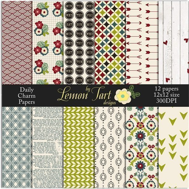 Daily Charm Papers weekdays, weekend, flowers with loads of charm instant download Digital Papers & Background Lemon Tart    Mygrafico