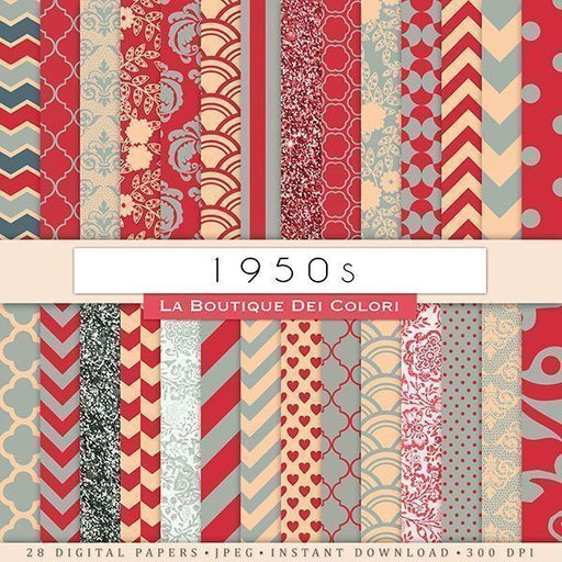 1950s Digital Papers Digital Papers & Background La Boutique Dei Colori    Mygrafico