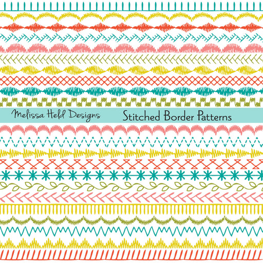 Sewing Stitch Border Patterns Clipart & Digital Paper Melissa Held Designs    Mygrafico