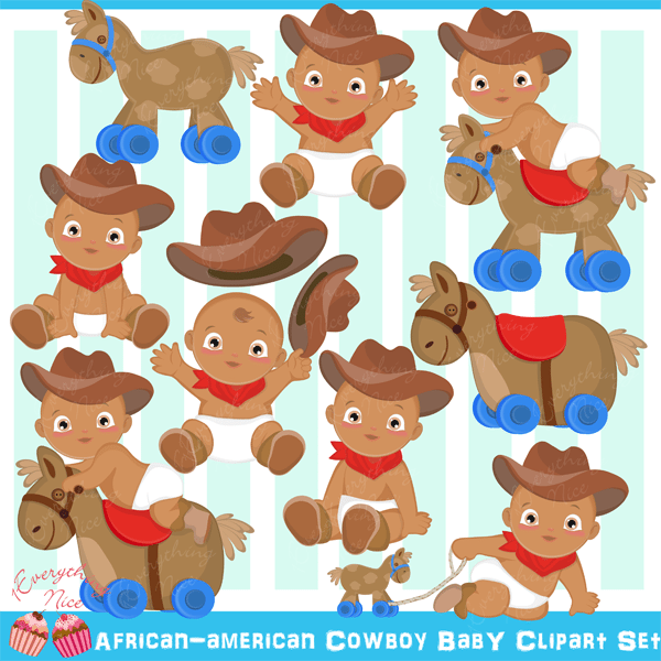 African-American Cowboy Baby Clipart Set  1 Everything Nice    Mygrafico