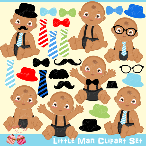 African-American Little Man Clipart Set  1 Everything Nice    Mygrafico