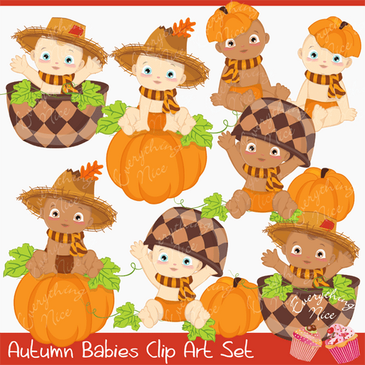 Autumn Babies Clipart Set  1 Everything Nice    Mygrafico
