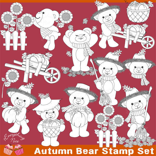 Autumn Fall Bear Stamps Set  1 Everything Nice    Mygrafico