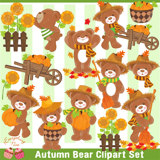 Autumn Bear Clipart Set  1 Everything Nice    Mygrafico