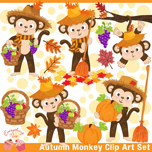 Autumn Monkey Clipart Set  1 Everything Nice    Mygrafico
