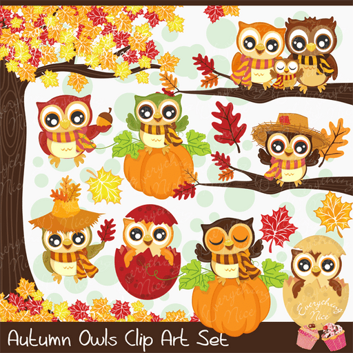 Autumn Owls Clipart Set  1 Everything Nice    Mygrafico