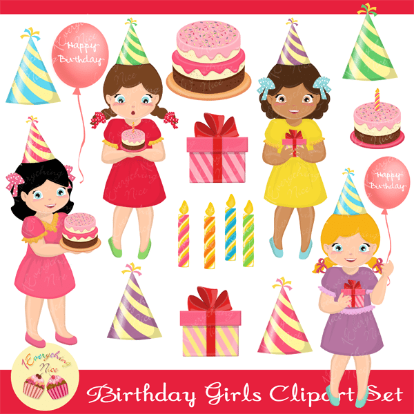 Birthday Girls Clipart Set  1 Everything Nice    Mygrafico