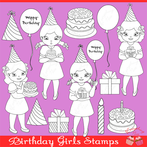 Birthday Girls Linearts / Stamps Clipart Set  1 Everything Nice    Mygrafico