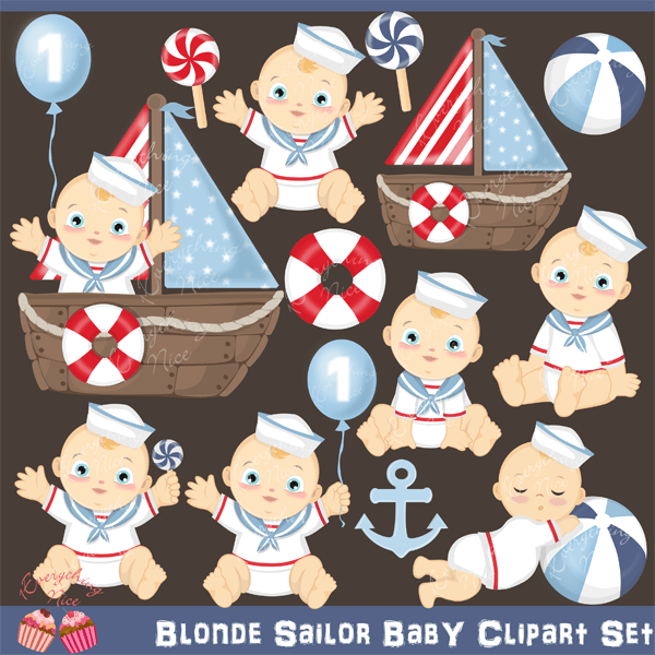 Blonde Sailor Baby Clipart Set  1 Everything Nice    Mygrafico