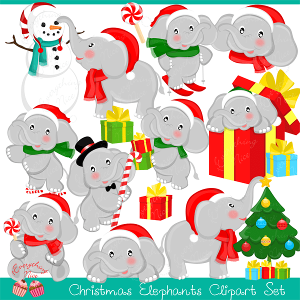 Christmas Elephants Clipart Set  1 Everything Nice    Mygrafico