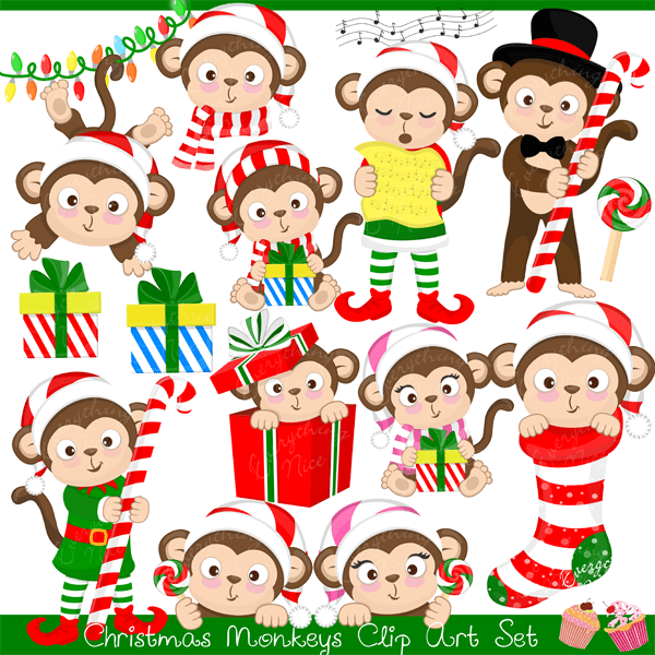 Christmas Monkeys Clipart Set  1 Everything Nice    Mygrafico