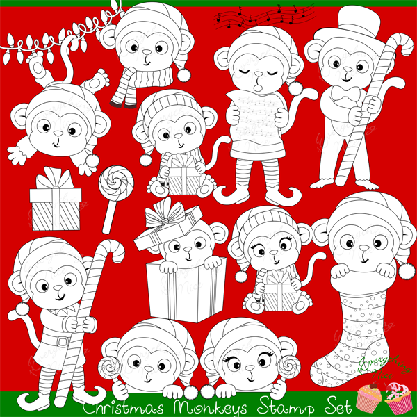 Christmas Monkeys Stamps Set  1 Everything Nice    Mygrafico