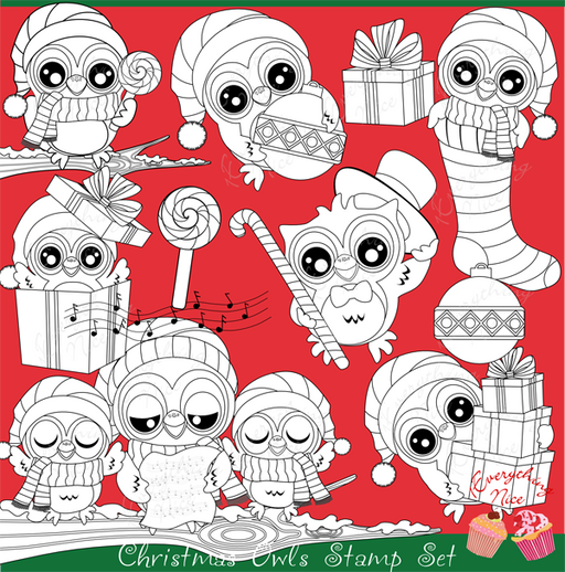 Christmas Owls Stamps Set  1 Everything Nice    Mygrafico