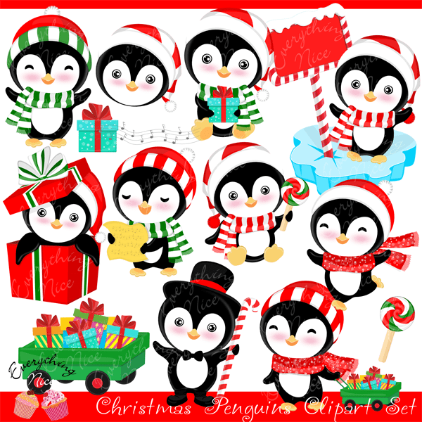 Christmas Penguins Clipart Set  1 Everything Nice    Mygrafico