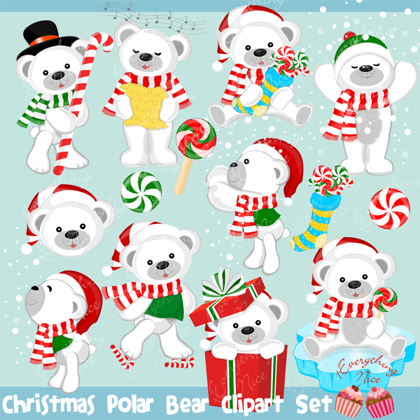 Christmas Polar Bear Clipart Set