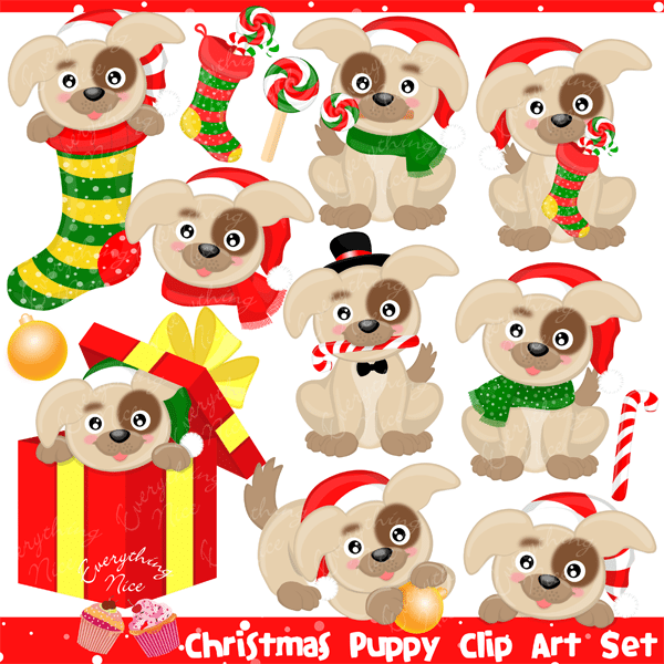 Christmas Puppy Clipart Set  1 Everything Nice    Mygrafico