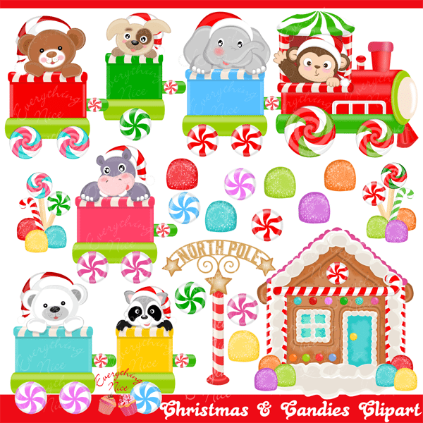 Christmas Candy Clipart.Christmas And Candies Clipart Set