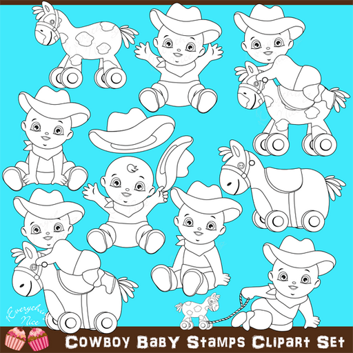Cowboy Baby Stamps / Lineart Clipart Set  1 Everything Nice    Mygrafico