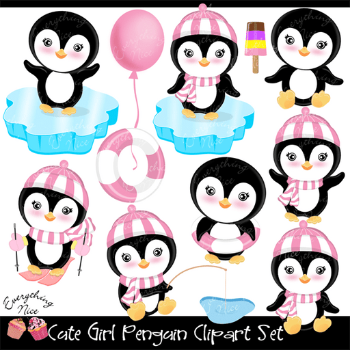 Cute Girl Penguin Clipart Set  1 Everything Nice    Mygrafico