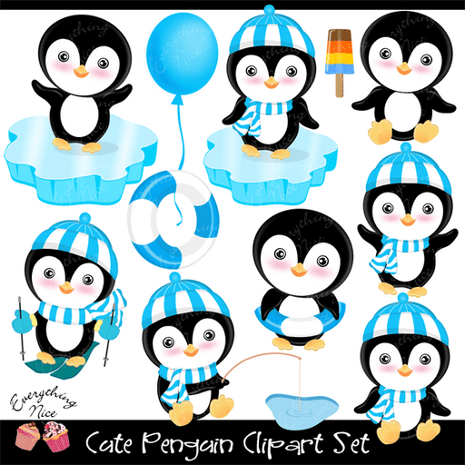 Cute Penguin Clipart Set  1 Everything Nice    Mygrafico