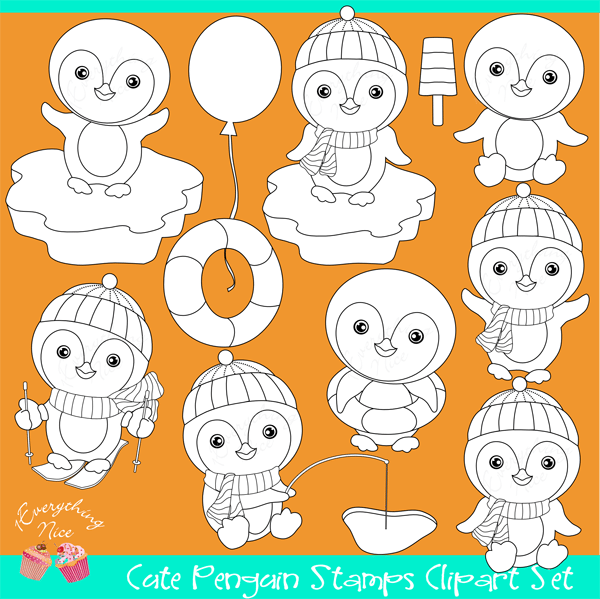 Cute Penguins Stamps / Linearts Clipart Set  1 Everything Nice    Mygrafico