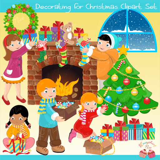 Decorating for Christmas Clipart Set