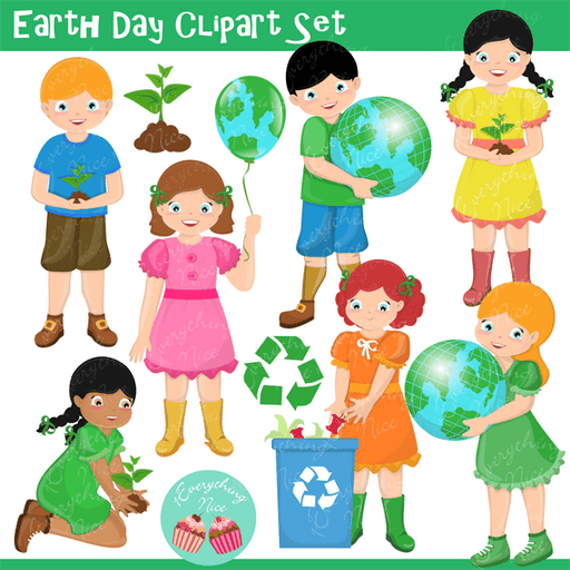 Earth Day Clipart Set  1 Everything Nice    Mygrafico