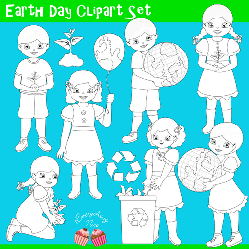 Earth Day Lineart Stamps Clipart Set  1 Everything Nice    Mygrafico
