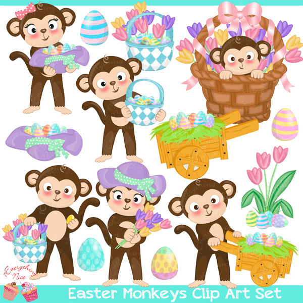 Easter Monkeys Clipart Set  1 Everything Nice    Mygrafico