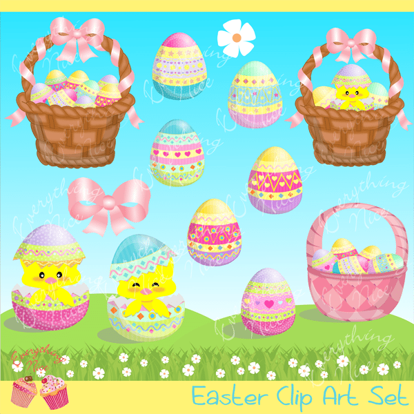 Easter Time Clipart Set  1 Everything Nice    Mygrafico
