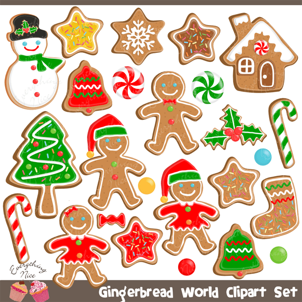 Gingerbread Man Gingerbread Word Christmas Cookies Clipart Set  1 Everything Nice    Mygrafico