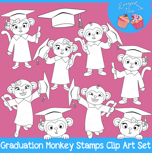 Graduation Monkeys Stamps Lineart Clipart Set  1 Everything Nice    Mygrafico