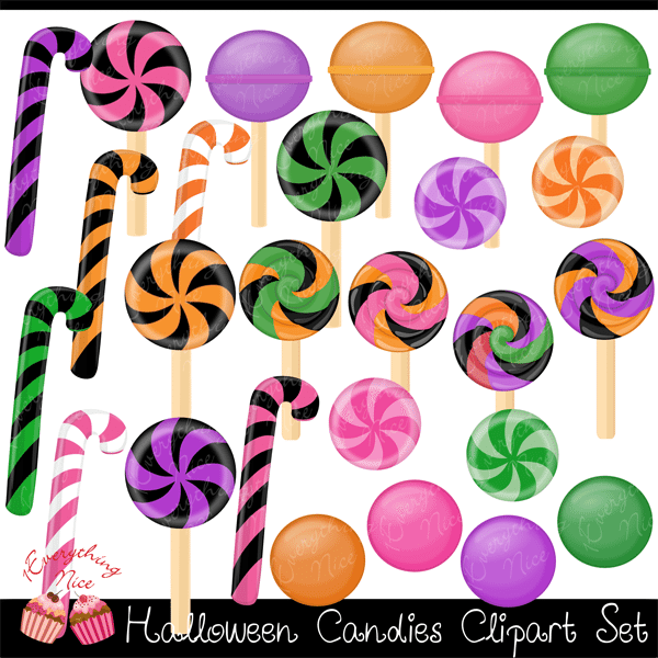 Halloween Candies Clipart Set  1 Everything Nice    Mygrafico