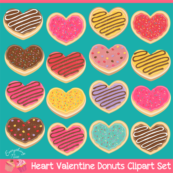 Heart Valentine Donuts Clipart Set  1 Everything Nice    Mygrafico