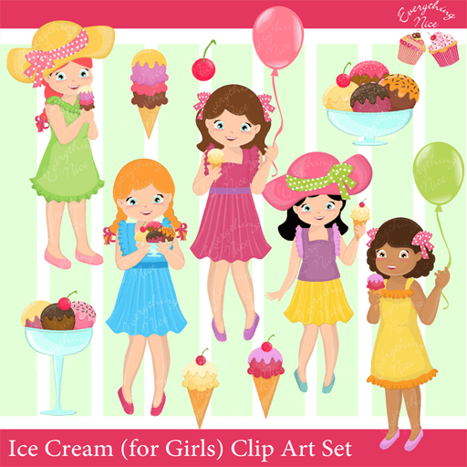 Ice Creams (for Girls) Clipart Set  1 Everything Nice    Mygrafico
