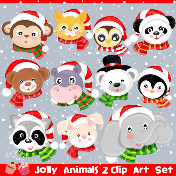 Jolly Christmas Animals 2 Clipart Set