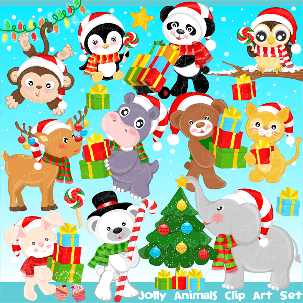 Jolly Christmas Animals Clipart Set  1 Everything Nice    Mygrafico
