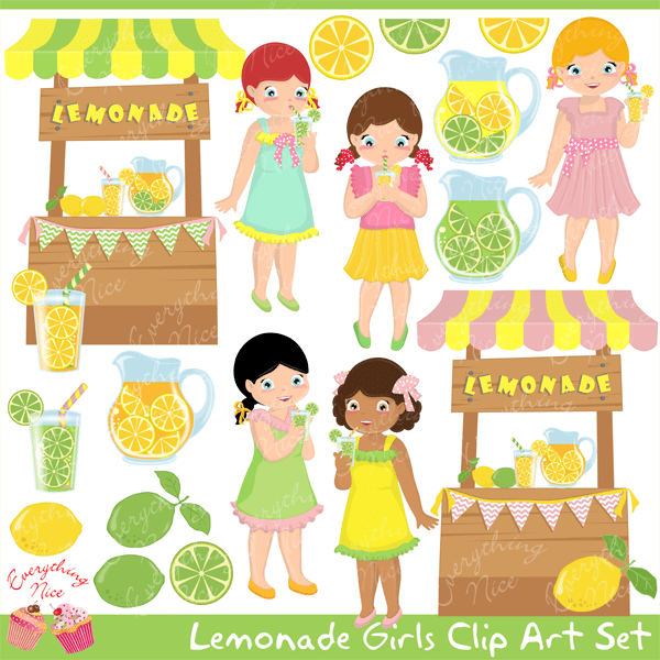 Lemonade Girls Clipart Set  1 Everything Nice    Mygrafico
