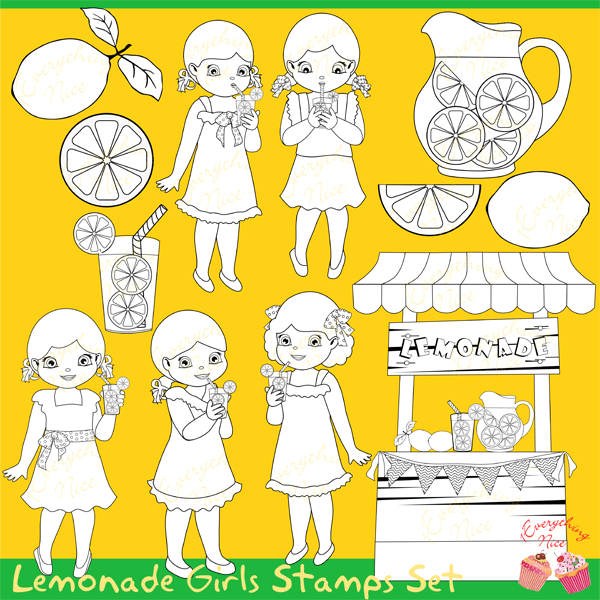 Lemonade Girls Lineart Stamps Clipart Set  1 Everything Nice    Mygrafico