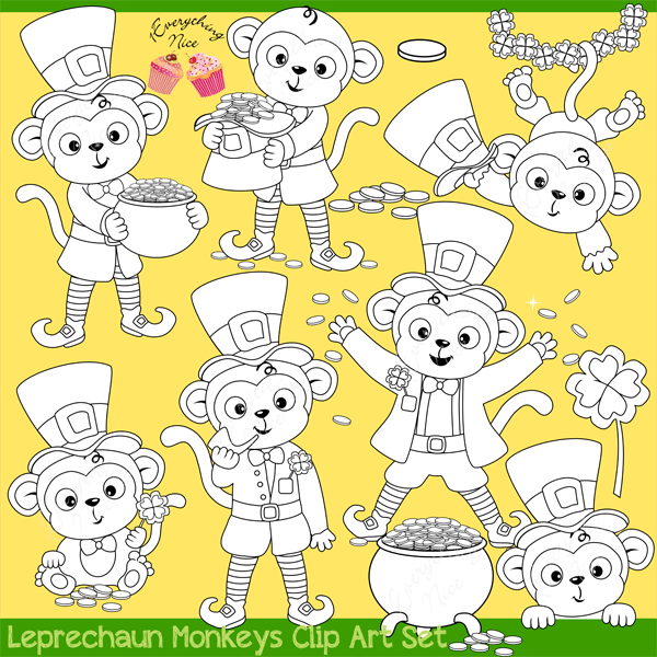 Leprechaun Monkeys Lineart  1 Everything Nice    Mygrafico