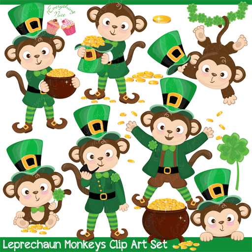 Leprechaun Monkeys Clipart Set  1 Everything Nice    Mygrafico