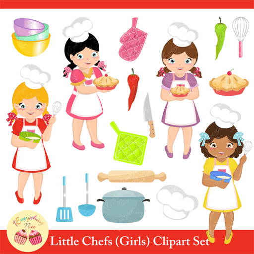 Little Chef Girls Clipart Set  1 Everything Nice    Mygrafico