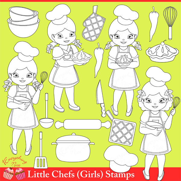 Little Chef Girls Stamps / Linearts Clipart Set  1 Everything Nice    Mygrafico