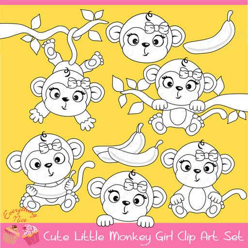 Cute Little Monkey Girl Stamps / Linearts Clipart Set  1 Everything Nice    Mygrafico