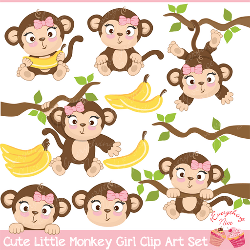Cute Little Monkey Girls Clipart Set  1 Everything Nice    Mygrafico